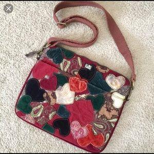 Lucky Brand velvet hearts messenger laptop bag